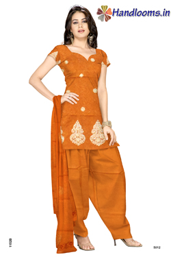 Chanderi cotton dyed embroidery top with self matching salwar and dyed chunni for simple and sobar look